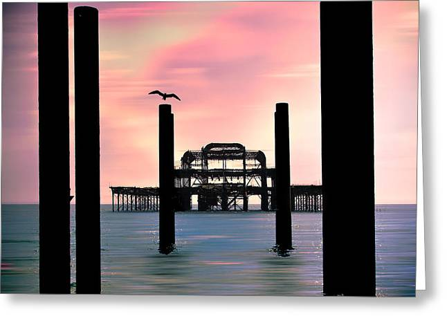 West Pier Silhouette Greeting Card by Chris Lord