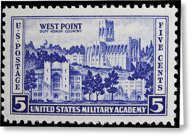 West Point Postage Stamp Greeting Card by James Hill