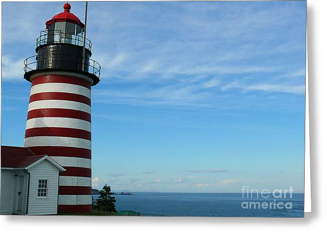 Greeting Card featuring the photograph West Quoddy Lighthouse by Jeanne  Woods