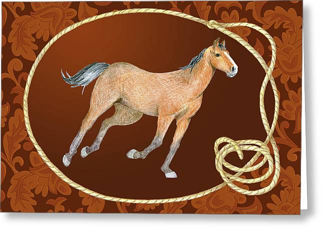 Western Roundup Running Horse Greeting Card