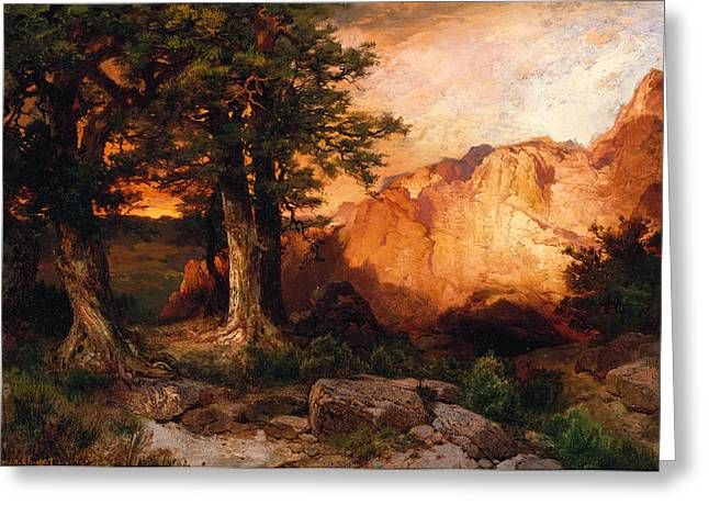 Western Sunset Greeting Card by Thomas Moran