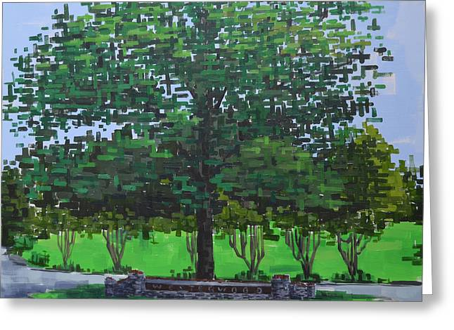 Greeting Card featuring the painting Westerwood Tree by John Gibbs