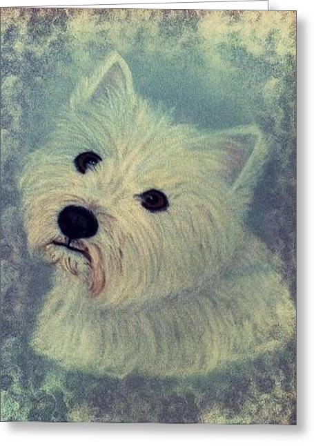 Westie Nostalgia Pastel Portrait Greeting Card by Hillary Rose