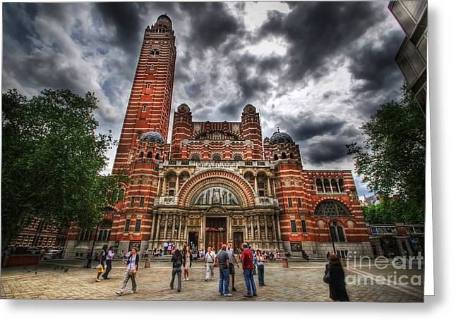 Westminster Cathedral Greeting Card by Yhun Suarez