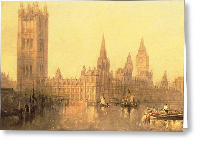 Westminster Houses Of Parliament Greeting Card by David Roberts