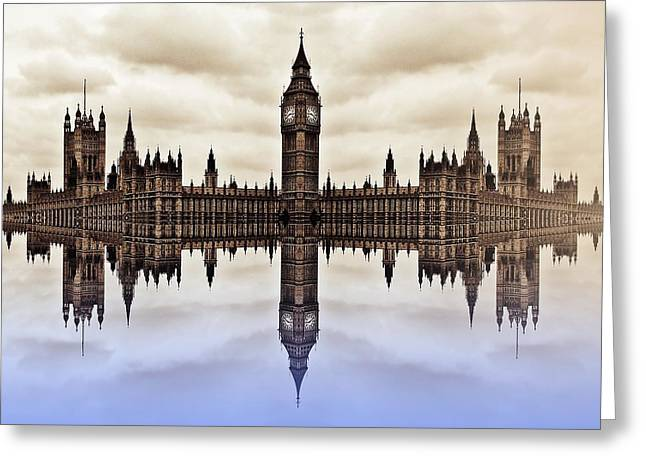 Westminster On Water Greeting Card by Sharon Lisa Clarke