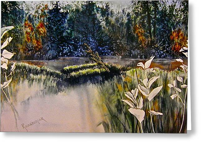 Greeting Card featuring the painting Wetlands by Carolyn Rosenberger
