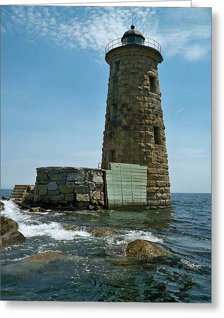 Greeting Card featuring the photograph Whaleback Light by Rick Frost