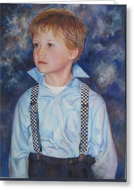 Blue Boy Greeting Card by Mary Wykes