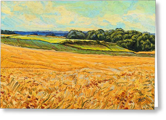 Greeting Card featuring the painting Wheat Field In Limburg by Nop Briex