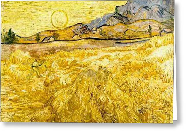 Wheat Field With Reaper And Sun Greeting Card by Vincent Van Gogh