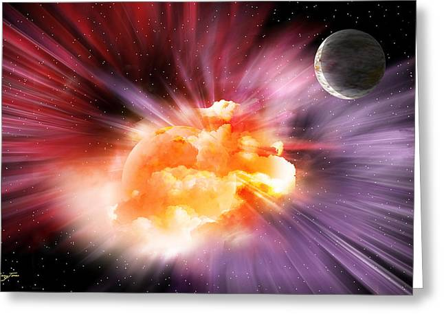 When Black-holes Collide Greeting Card by Barry Jones