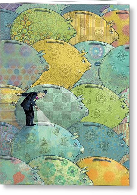 Where's The Money? Greeting Card by Dennis Wunsch