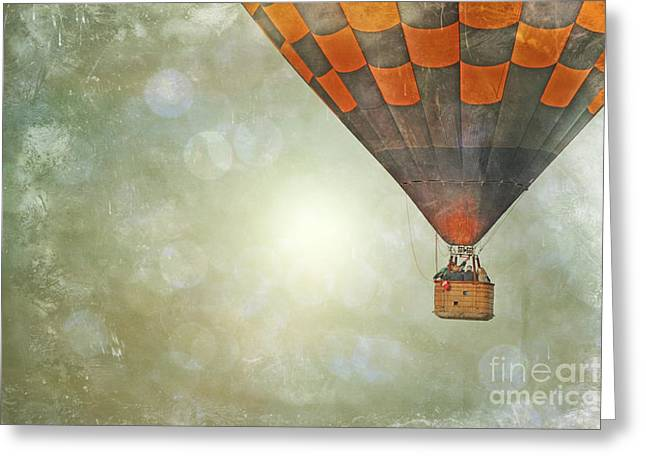 Whimsical Balloon Flight Greeting Card