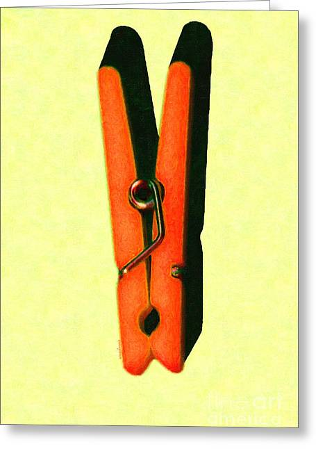Whimsical Clothespin Pop Art . Painterly . Light Version Greeting Card