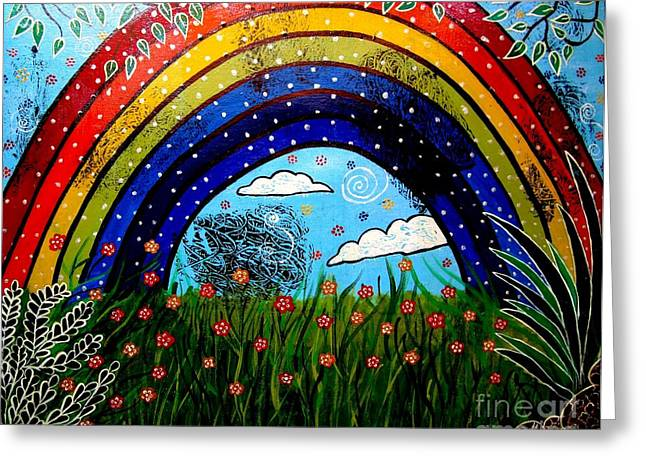Whimsical Painting-whimsical Rainbow Greeting Card by Priyanka Rastogi