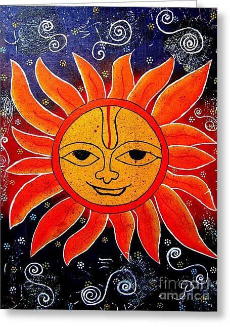 Whimsical Painting-whimsical Sun God Greeting Card by Priyanka Rastogi