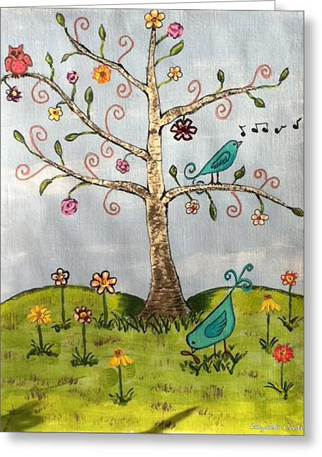 Greeting Card featuring the painting Whimsical Tree by Elizabeth Coats