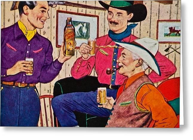 Whiskey Advertisement Greeting Card by Susan Leggett