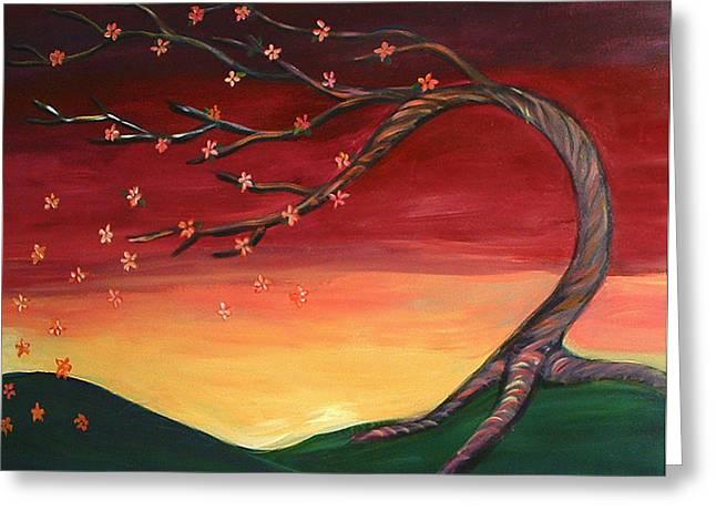 Whispering Autumn Tree Greeting Card by Astrid Padilla