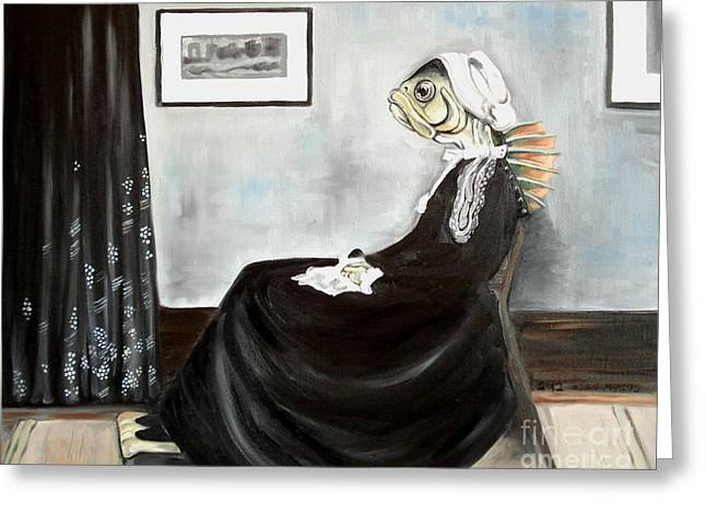 Whistler's Mother As A Fish Greeting Card by Ellen Marcus