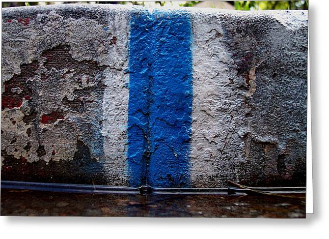 Whit Blue Curb Greeting Card by Ludmil Dimitrov
