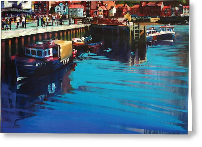 Whitby New Quay Greeting Card by Neil McBride