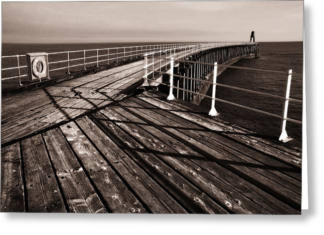 Whitby Pier  Greeting Card by Stephen  Wakefield