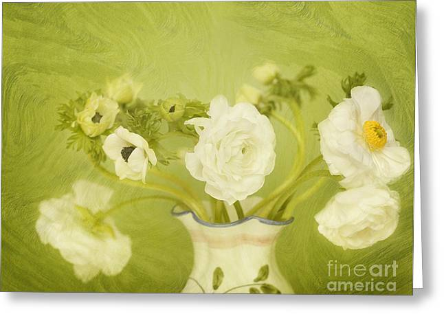 White Anemonies And Ranunculus On Green Greeting Card by Susan Gary