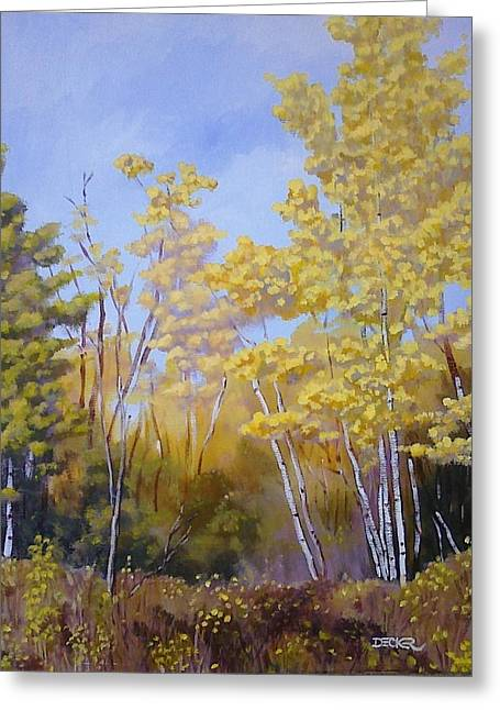 Greeting Card featuring the painting White Bark Yellow Leaves by Robert Decker