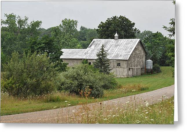 White Barn On A Back Country Road Greeting Card