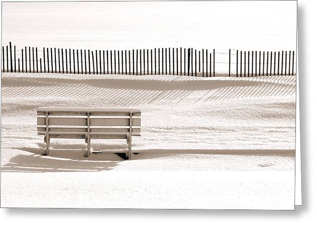 White Bench On A Winter Beach Sepia Greeting Card