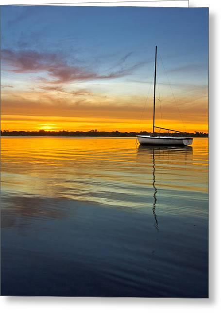 White Boat Greeting Card by Debra and Dave Vanderlaan