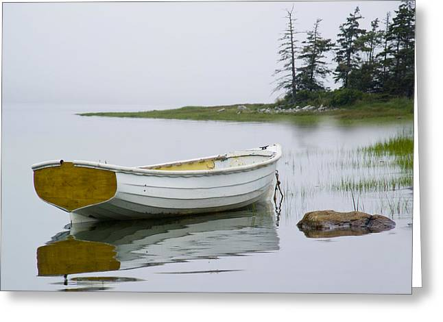 Randy Greeting Cards - White Boat on a Misty Morning Greeting Card by Randall Nyhof