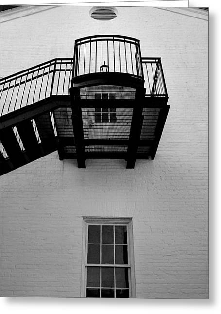 White Building And Stairs Greeting Card by Steven Ainsworth
