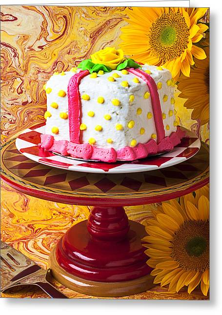 White Cake Greeting Card by Garry Gay