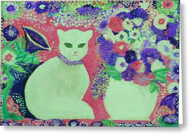 White Cat With Flowers All Around Greeting Card by Anne-Elizabeth Whiteway