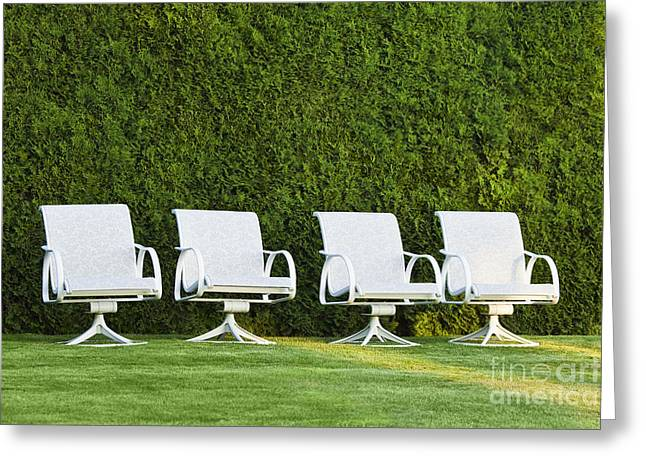White Chairs On A Lawn Greeting Card by Don Mason