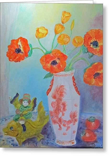 White China Vase With Poppies Greeting Card by Barbara Anna Knauf
