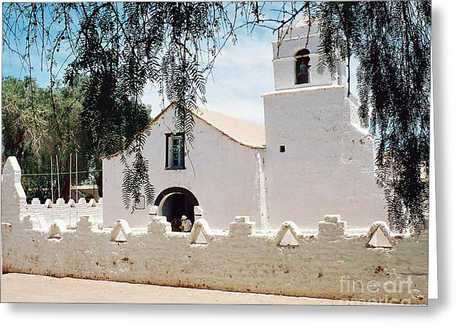White Church In Chile Greeting Card by Trude Janssen