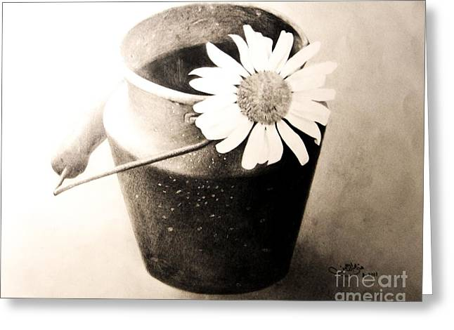 White Daisy Greeting Card by Muna Abdurrahman