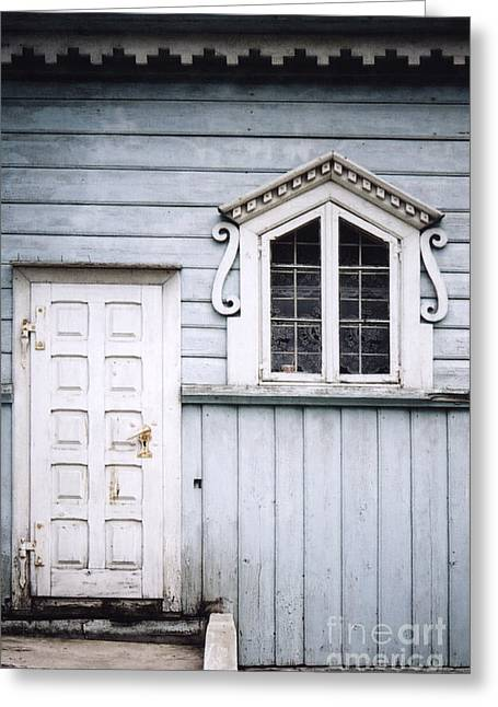 White Doors And Window On Bluish Wooden Wall Greeting Card by Agnieszka Kubica