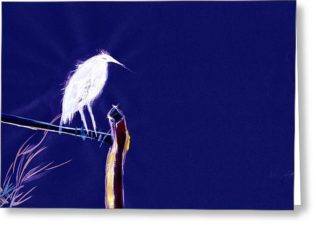 White Egret Greeting Card by Anil Nene
