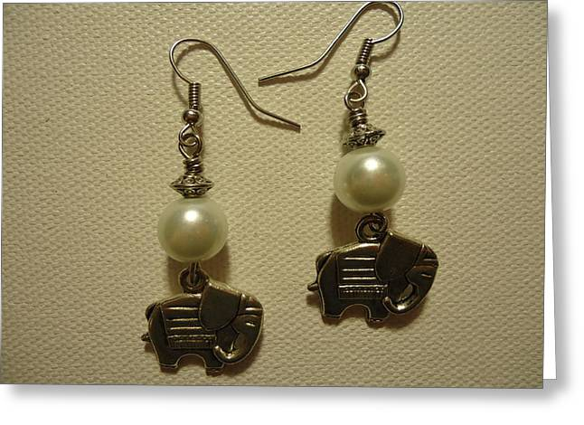 White Elephant Earrings Greeting Card