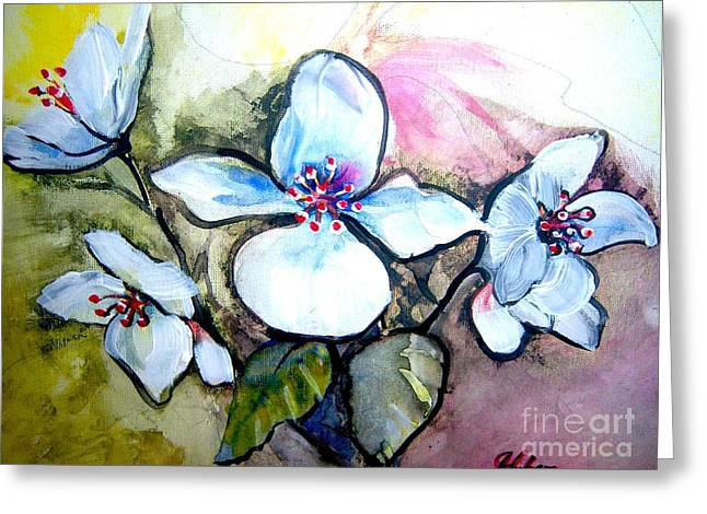 White Floral Group Greeting Card by Ken Huber