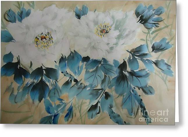 Greeting Card featuring the painting White Flower by Dongling Sun