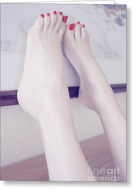 White Girl Bare Foot Greeting Card by Tos Photos