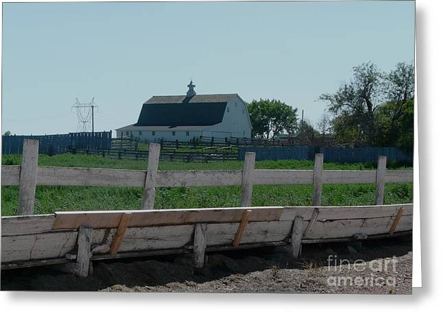White Hiproof Barn  Greeting Card by Bobbylee Farrier