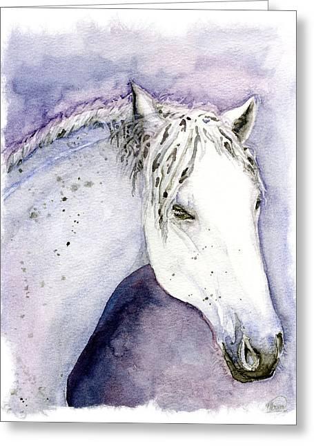 White Hourse Greeting Card by Alban Dizdari