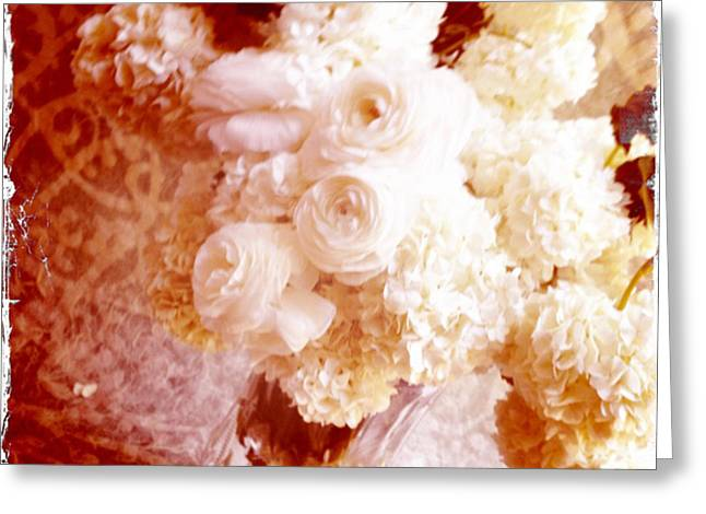 White Hydrangeas With Ranunculus Greeting Card by Ruby Hummersmith